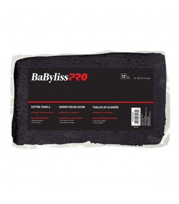 BabylissPro Black Cotton BleachProof Towels - 12 count