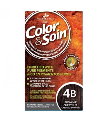 COLOR & SOIN Natural Ammonia Free Hair Color Kit - 4B Brownie Chestnut