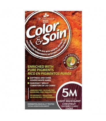 COLOR & SOIN Natural Ammonia Free Hair Color Kit - 5M Light Mahogany Chestnut